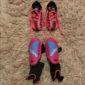 Toddler soccer cleats & shin pads